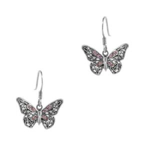 Jacobean Butterfly Silver Drop Earrings with Amethyst colour stones 9884